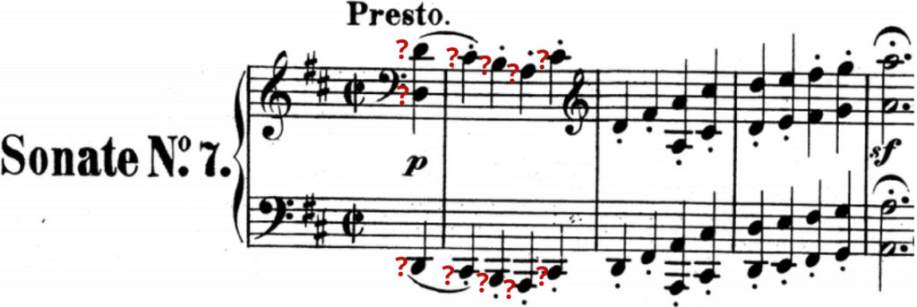 Sheet music of a sonata in D major with question marks by each note