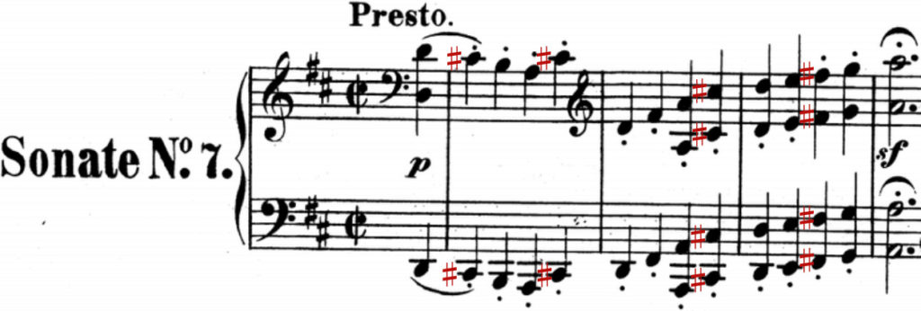 Sheet music of same sonata with sharps marked for C♯ and F♯.