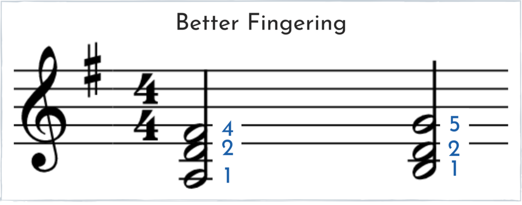 Proper fingerings for a D 2nd inversion chord to a G 1st inversion chord