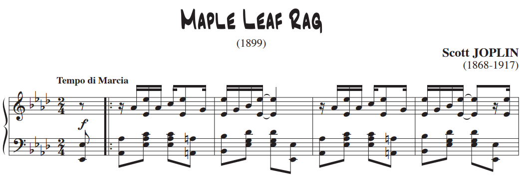 Maple Leaf Rag excerpt. LH hops  between octave, root and second inversion chords