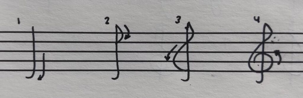 4 steps to draw a treble clef with arrows.