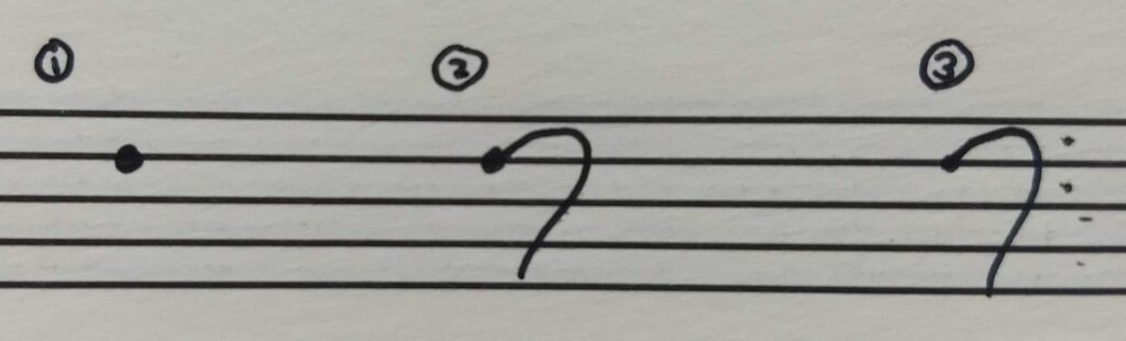 3 steps to drawing a bass clef