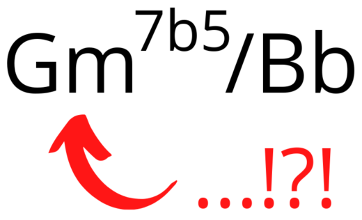 Gm7b5/Bb lead sheet symbol example