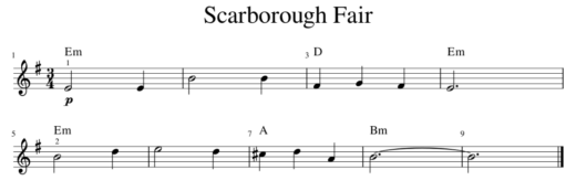 Scarborough Fair Lead Sheet Example