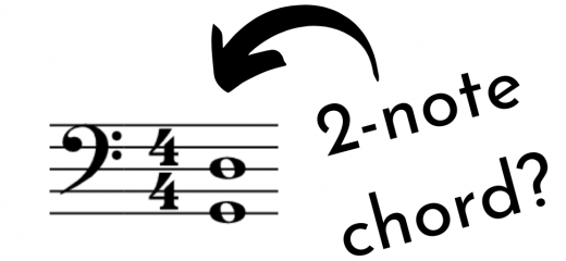 "G and D in bass clef. Arrow and question ""2-note chord?"""